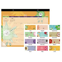 "AT-A-GLANCE Academic Desk Pad Calendar, July 2017 - July 2018, 22"" x 16-13/16"", Flowers (5035-A6)"