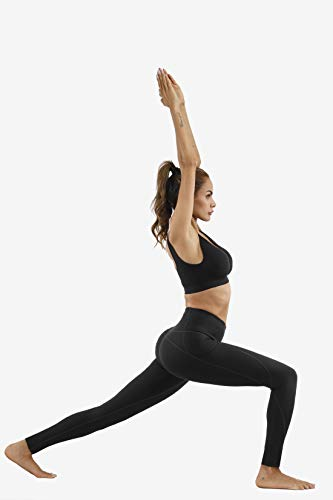 Lingswallow High Waist Yoga Pants - Yoga Pants with Pockets Tummy Control, 4 Ways Stretch Workout Running Yoga Leggings (Black, Medium)