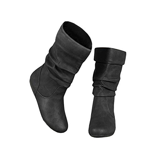 Syktkmx Womens Slouchy Under Knee Boots Winter Flat Low Heel Wide Mid Calf Closed Toe Boots Black