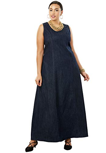 Jessica London Women's Plus Size Denim Maxi Dress - Indigo, 18