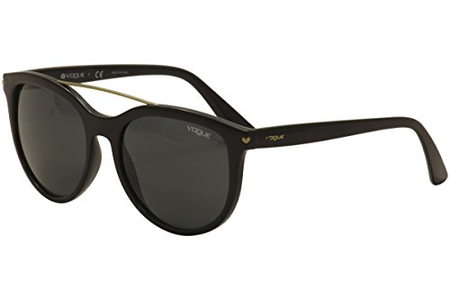 VOGUE Women's Injected Woman Round Sunglasses, Black, 55 - Vogue Black Glasses
