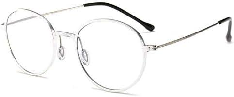H54eru1z アンチ青メガネの男性と女性のレトロな丸メガネフレームメガネ 6awa23z (Color : Silver)