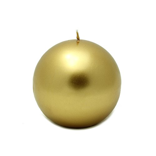 Zest Candle CBZ-414_6 12-Piece Ball Candle, 4'', Metallic Gold by Zest Candle (Image #1)