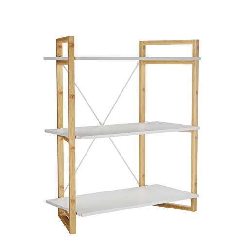 Tier Three Natural - BAMFOX Bamboo Bookshelf,Bookcase and Storage Shelf with 3 Tiers,Ideal for Living Room,Bathroom,Kitchen,Office and More,26