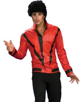 [Michael Jackson Adult Costume Red & Black Thriller Jacket - Small] (Thriller Jacket Costume)