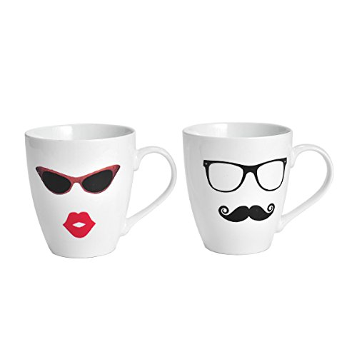 - Pfaltzgraff Everyday Mug, Lips and Mustache, Set Of 2