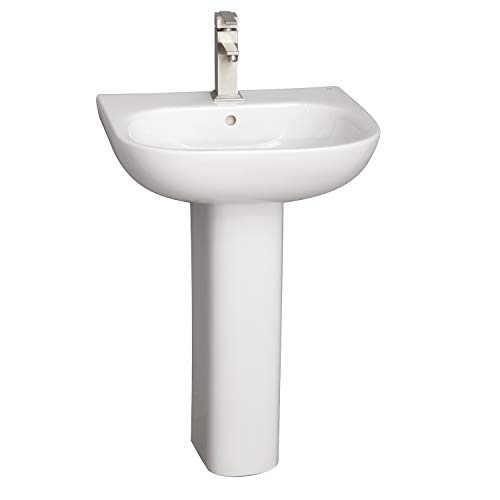 (Barclay Products 3-2021WH Tonique 450 Pedestal Lavatory with 1-Hole, White)