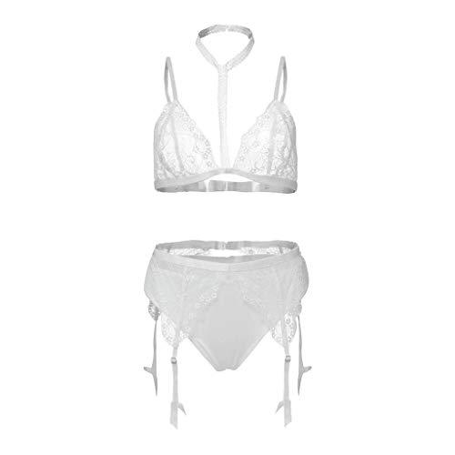 0a1de0b1e7 SUSENSTONE Lingerie for Women Sexy Lace Hollow Bra Panties with Garter Plus  Size Underwear Set Sleepwear