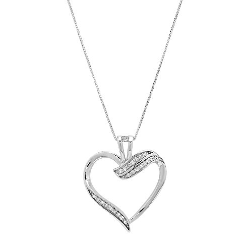 Parade of Jewels 10k White Gold Diamond Ribbon Heart Pendant Necklace (1/10 cttw, J-K Color, I2-I3 Clarity), 18