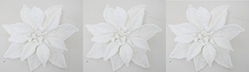 Double Poinsettia - Set of Three! Christmas Decorative Tree Clip with White Fully Open Roses or Double Poinsettias