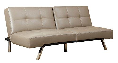Abbyson Aspen Leather Convertible Sofa, Taupe