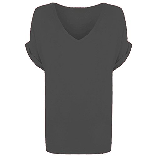 Hot Hanger Womens Oversized Baggy Loose Fit Batwing Tunic Tops T Shirts UK 8-28 Charcoal Grey