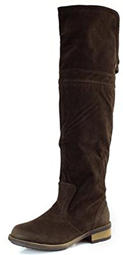 Qupid Women RELAX70 Closed Round Toe Western Bi Fold Thigh High Over The Knee Flat Low Heel Slouchy Boots Shoes, Dark Brown Faux Suede, 7 B (M) - High Womens Brown Boots Knee