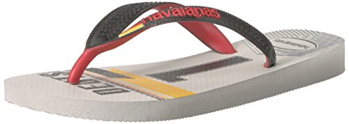 Havaianas Unisex Teams III - Germany Sandal,White/Black,39/40 BR (9-10 M US Women's / 8 M US Men's)
