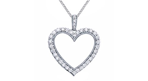 - Jewel Zone US 0.5 Ct Natural Diamond Heart Pendant Necklace 14k White Gold Over Sterling Silver (1/2 Ct)