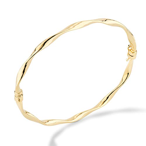 MiaBella 18K Gold Over Sterling Silver Italian Twisted Hinged Bangle Bracelet Jewelry for Women, Girls, 7
