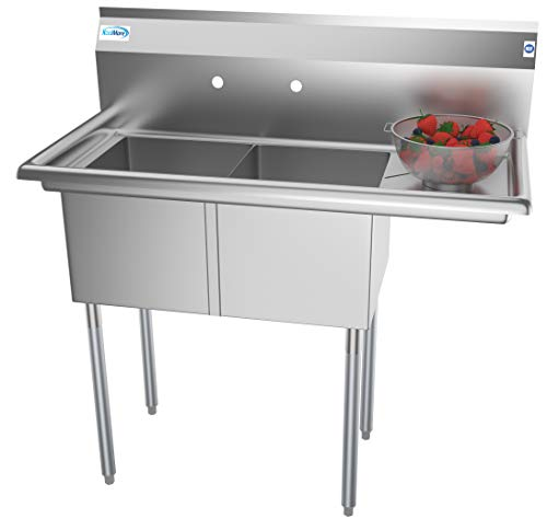 (KoolMore 2 Compartment Stainless Steel NSF Commercial Kitchen Prep & Utility Sink with Drainboard - Bowl Size 14