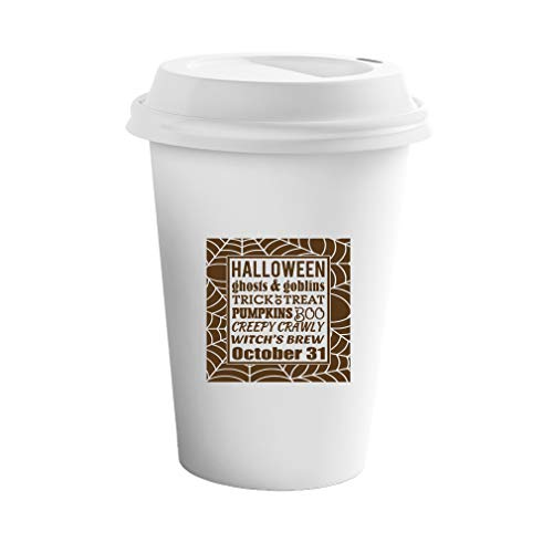 Style In Print Red Halloween Ghosts & Goblins Trick Or Treat Pumpkins Boo Creepy Crawly Witch's Brew October 31 Ceramic Coffee Tumbler Travel Mug ()
