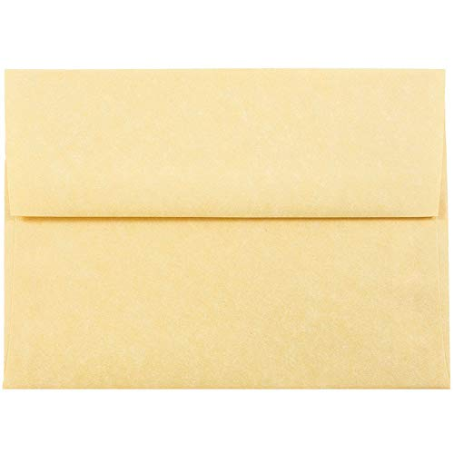 JAM PAPER A6 Parchment Invitation Envelopes - 4 3/4 x 6 1/2 - Antique Gold Recycled - 25/Pack ()