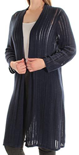 Alfani Navy Stripe - Alfani Womens Illusion Knit Open Front Cardigan Sweater Navy M