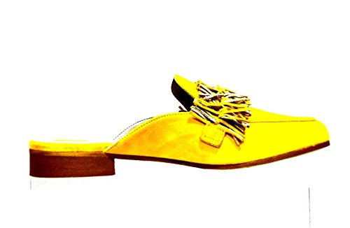 Giallo Fringes Sabot with Laminated Cafè KED525 Noir 1958 Suede Z4w84Y
