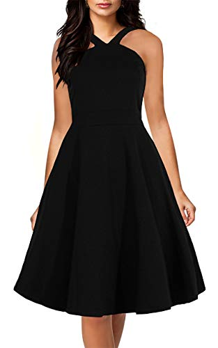 - Yikomi Womens Chic Sleeveless Cross Neck Halter Casual Cocktail Party Dress K12 (XL, Black)