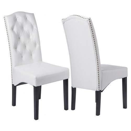 Hooseng Dining Chair - with Solid Wood Legs Double Foam Cushioning with Reinforced Spring Support, high sloped Arched seat, White by Hooseng