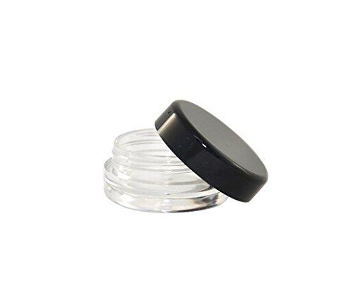 3 ML Plastic Sample Empty Container Jars Round Pot Black Scr