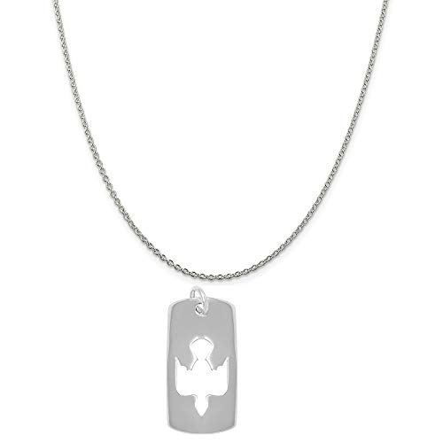 (Raposa Elegance Sterling Silver Cut Out Dove Tag Charm on a Sterling Silver 16