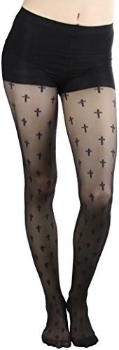 (ToBeInStyle Women's Full Footed Cross Prints Spandex Pantyhose - Black)