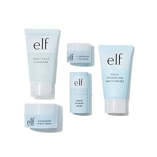 e.l.f, Jet Set Hydration Kit, 5 Piece, TSA-Friendly, Lightweight, Cleanses, Tones, Moisturizes, Nourishes, Includes Cleanser, Balm, Moisturizer, Eye Cream and Night Cream, 1.9 Fl Oz