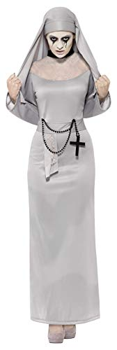 Smiffys Women's Gothic Nun Costume, Dress and Headpiece, Legends of Evil, Halloween, Size 6-8, 43278 -