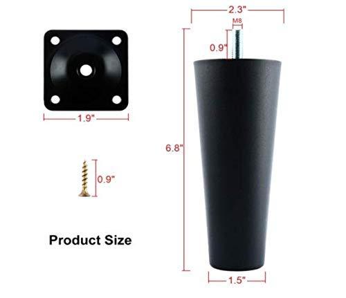 8 mm Juego de 4 patas de sof/á de pl/ástico de repuesto con tornillos de montaje para silla//sof/á//butaca//mosquet/ón rosca M8 ZunBo