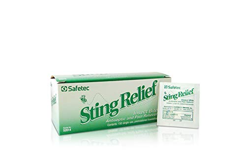 Safetec Sting Relief Insect Bite Antiseptic & Pain Reliever, Wipes, 150 per Box by Safetec