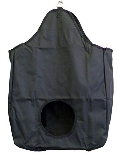 AJ Tack Wholesale Horse Feeding Hay Bag Solid Panel With Metal Rings 600D Canvas Nylon Black