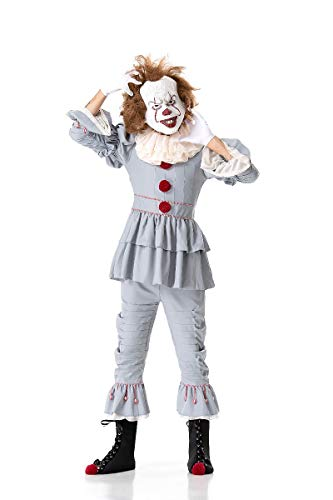 Pennywise Costume Halloween Deluxe Clown Cosplay Costume Outfit It Movie for Adults Kids (XL, Men)