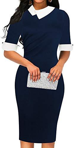 LunaJany Women's Half Sleeve Empire Waist Wear to Work Office Pencil Dress XXLarge Navy (Navy Career Dress)