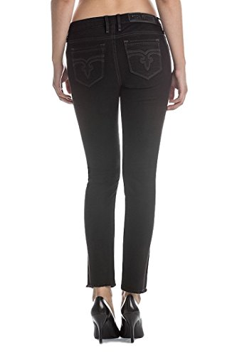 Rock Revival Flora AK205 Black Ankle Skinny Cut Fluer De Lis Women's Jeans