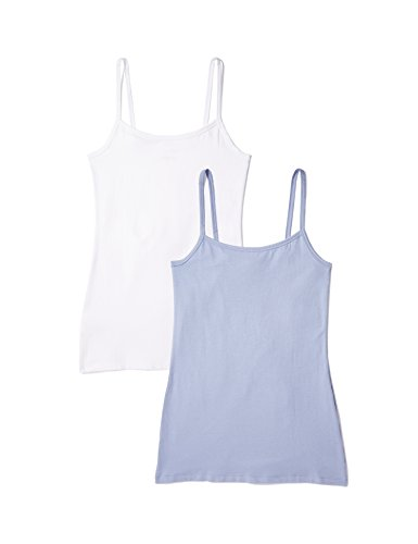 Womens Cotton Camisole - Iris & Lilly Women's Cotton Camisole,  Pack of 2,  x White,  x Blue Denim, L (US 10)