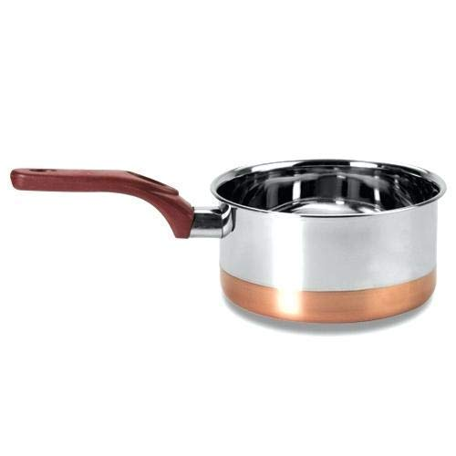 (WhopperOnline Stainless Steel Copper Bottom Saucepan/Cookware/Container With Handle, Silver Color Size 5.2 X 5.2 Inch)