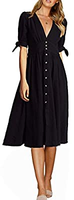 FANEW Women's Party Casual Deep V Neck Half Sleeve High Waist Button Down A Line Swing Midi Dress