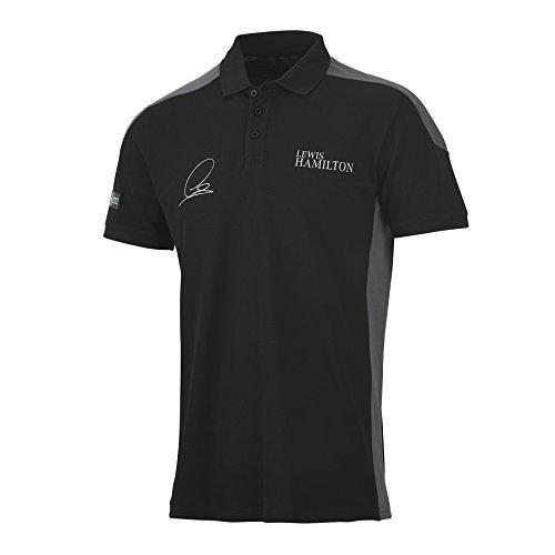 Mercedes Benz AMG Petronas Formula 1 Men's Driver Lewis Hamilton Black Polo (2XL)