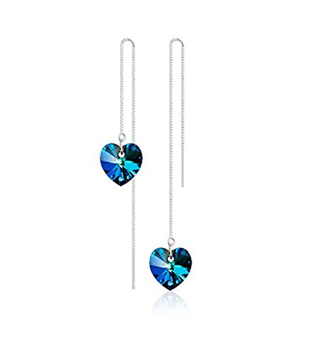 Diamond Open Heart Earrings (Most Beloved Sterling Silver Open Heart Threader Drop Earrings)