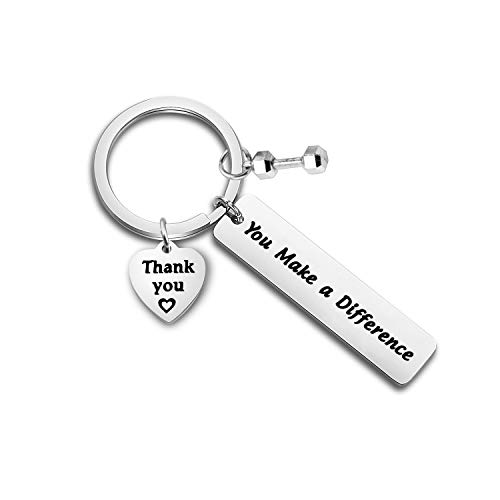 FOTAP Fitness Trainer Thank You Gift You Make a Difference Keychain Workout Jewelry Gift for Fitness Instructor(Fitness Keychain)