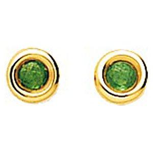 So Chic Bijoux © Boucles d'oreilles Femme Puces 2,5 mm Emeraude Vert Cercle Or Jaune 750/000 (18 carats)