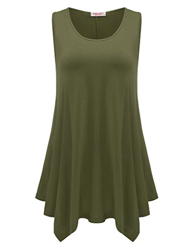 (BELAROI Womens Plus Size Sleeveless Comfy Tunic Tank Top (L, Army Green))
