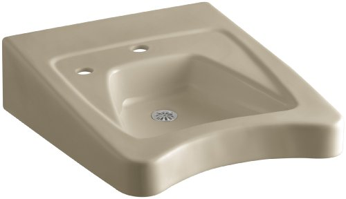 KOHLER K-12638-L-33 Morningside Wheelchair Bathroom Sink with Single-Hole Drilling and Soap Dispenser Drilling on Left, Mexican Sand -