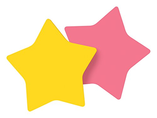 (Post-it Notes, Star Shape, Yellow and Pink with pattern, 2.9 in x 2.8 in, 2 Pads, 75 Sheets/Pad (7350-STR))