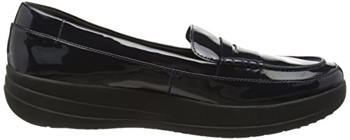 Fitflop Women's F-Sporty Tm Penny Loafer Flat, Supernavy Blue (Supernavy Patent)