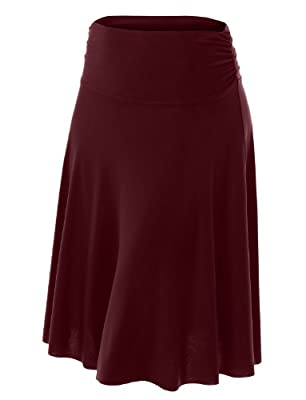 LE3NO Womens Plus Size Lightweight Solid Flared Midi Skater Skirt with Stretch